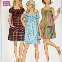 Simplicity 70s Sewing Pattern Retro Baby Doll Dress Easy to Sew Loose Fit Pullover Top Square Neckline Mini Length Bust 34