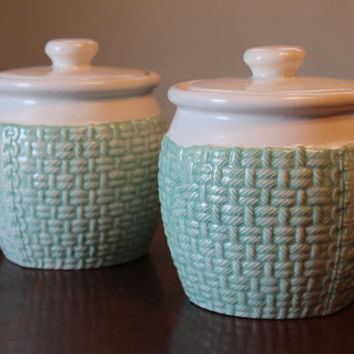 Set of vintage Cookie Jars antique green 1950's excellent condition