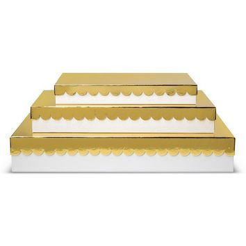 Sugar Paper 3ct White and Gold Nesting Gift Boxes Set