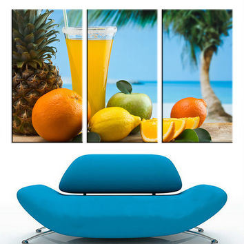 Unframed Canvas Painting  Seascape Fruit Wall Oil Painting Wall Picture Poster Landscape A4 Art Print Home Decor for Room 3Pcs