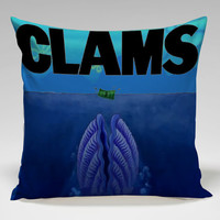 clams jaws parody sponge bob Square Pillow Case Custom Zippered Pillow Case one side and two side