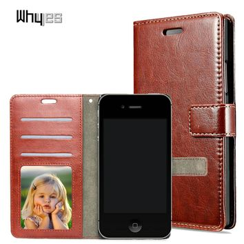 Whyes For Apple iPhone 4S 4 Vintage wallet style Photo frame Leather phone case Stand Flip Fashion Card Hold Cover For iphone 4