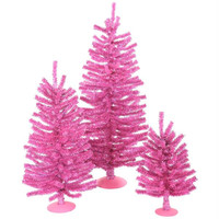3 Artificial Christmas Trees - Pink Color