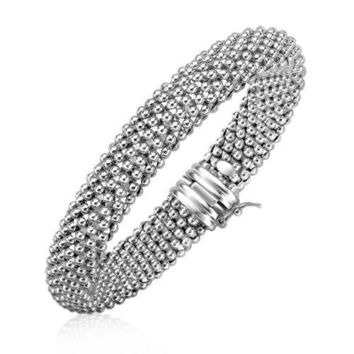 Sterling Silver Rounded Motif Mesh Bracelet with Rhodium Plating, size 7.5''