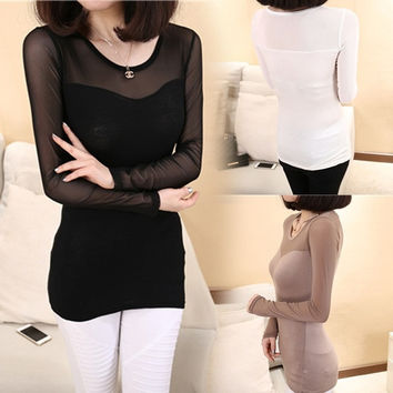 Women Gauze Crew Neck Transparent See through 3 Colors Shirt Blouse Splice Tops F_F = 1904258436