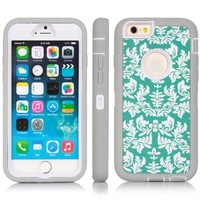 "iPhone 6 Case, SGM Dual Layer Protection High Impact Hybrid Armor Case For iPhone 6 (Compatible With All iPhone 6 4.7"" Models) (Gray + White (Flower))"