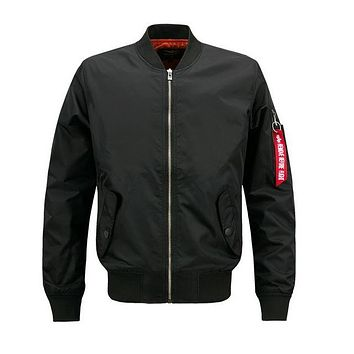 Bomber Jacket Men Patch Design Men Flight Pilot Coat Jacket