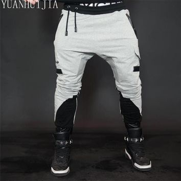 2017 New Fashon Fitness Long Pants Men Casual Sweatpants Baggy Jogger Trousers Fashion Fitted Bottoms Streetwear Hip-hop Pants