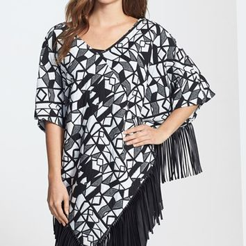 Women's Two by Vince Camuto 'Urban Tribal' Print Faux Leather Fringe Hem Poncho