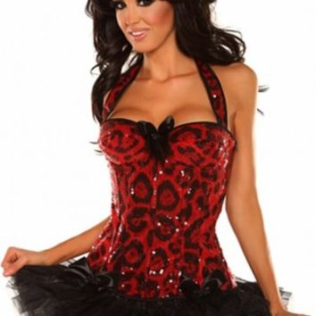 Leopard Sequin Halter Top Corset Pettiskirt @ Amiclubwear Outfits Clothing online store sales:Sexy Outfit,Jumpsuit,Catsuit,School Girl Outfit,Women's Jumpsuit,Hot Outfit,Dance Outfit,Party Outsuit,teen clothing,Christmas,Nurse,Cheerleading,Wedding,Cowgirl