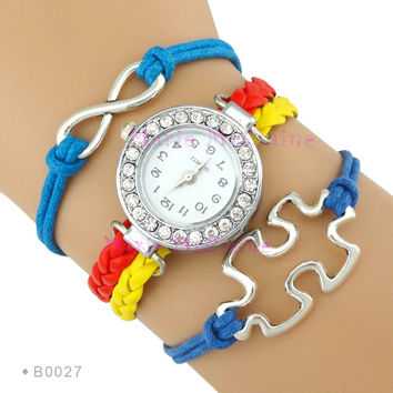 (10 Pieces/Lot) Infinity  Watch with Rhinestone Autism Awareness Jigsaw Puzzle Pieces Bracelet