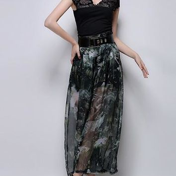 Women's Palazzo Pants - Sheer Chiffon Fabric / Charcoal and White Print