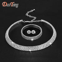 DuoTang Hot Selling  Rhinestone Crystal Choker Necklace Earrings and Bracelet Wedding Jewelry Sets Wedding Accessories T0035B1