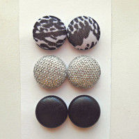 Set of 3 Black Silver Stud Earrings Post Fabric Button Earring Studs Stocking Stuffer Silver Jewelry