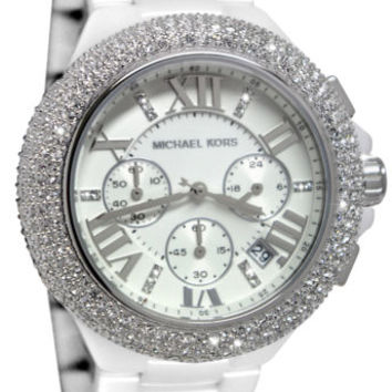 Michael Kors MK5843 Camille Chrono White Ceramic Band Crystal Women Watch NEW