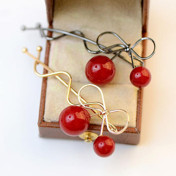 Red Cherry Wave Live Vintage Golden Silver Headwear Hair Clips Barrettes Accessories for Women Fashion Girls Jewelry