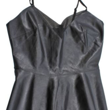Forever 21 Black Faux Leather Peplum Cami