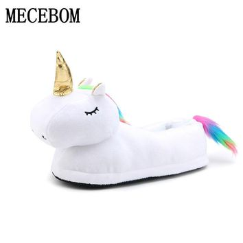 2017 Winter Indoor Slippers Plush Home Shoes Unicorn Slippers for Grown Unisex Warm Home Slippers Shoes Christmas gift DJS01W