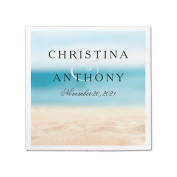 Sandy Beach Destination Wedding Napkin