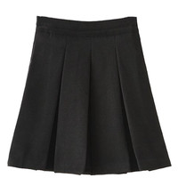 Black Woolen Pleated Mini Skirt