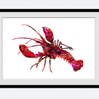 Lobster print Lobster poster Lobster watercolor wall art decor Home decoration Nautical watercolor print Kids room art Christmas gift  W331