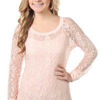 all over lace top with banded bottom