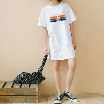 """""""Adidas"""" Women Sport Casual Multicolor Logo Print Short Sleeve Middle Long Section T-shirt Loose Dress"""