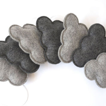 Grey Cloud Garland, Light and Dark Grey Clouds, gender neutral nursery, baby nursery decor, gender neutral baby gift, Product ID: LRZ2335