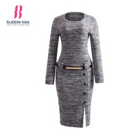 Pullover Dress Woman Knitwear Winter Long Sleeve O Neck Slit Belt Button Casual Bodycon Dress Elegant Formal office midi dress