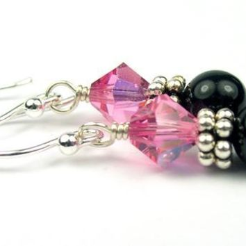 Silver Black Pearl and Crystal Earrings October Rose (Pink Tourmaline) Swarovski Crystal Elements
