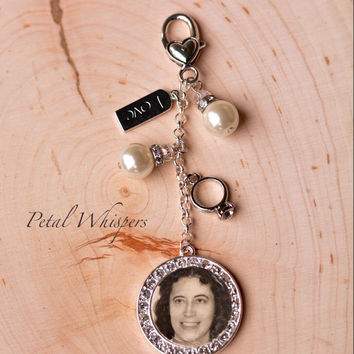 Bouquet Jewelry -  Bridal Bouquet Charm -Wedding Memorial Bouquet Charm - Bouquet Accessory - Bridal Bouquet Picture Charm