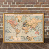 World map - Decorative map - Old wall map - Fine print