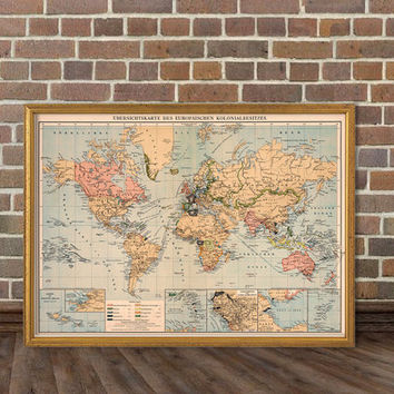 World map - Decorative map - Old wall map from AncientShades on on