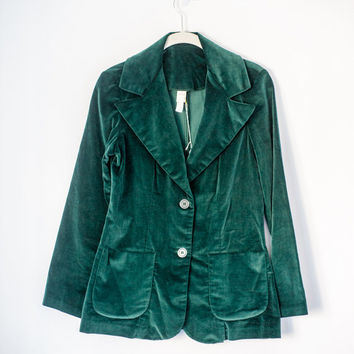 Green Velvet Blazer, Vintage, 1970's, Fitted, Stretch Size Small/Medium