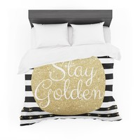 "Richard Casillas ""Stay Golden "" Black Gold Featherweight Duvet Cover"