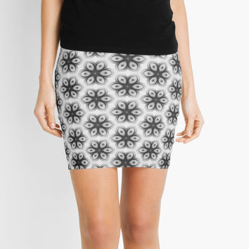 'Black and white flowers' Mini Skirt by KandM