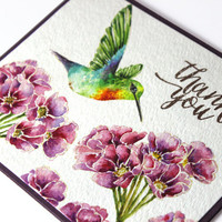 OOAK - Humming Bird - Watercolor - Thank you- Handpainted