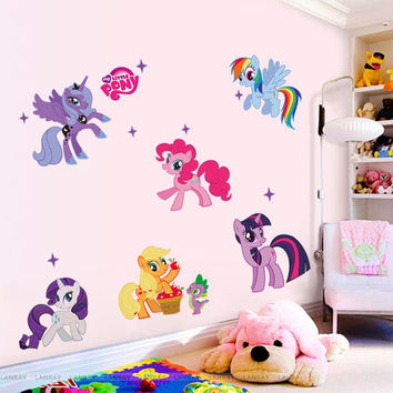 New arrival Kid Wall Stickers My Little Pony 6 ponies removal wall sticker girls sticker for kids 1425factory sales directly
