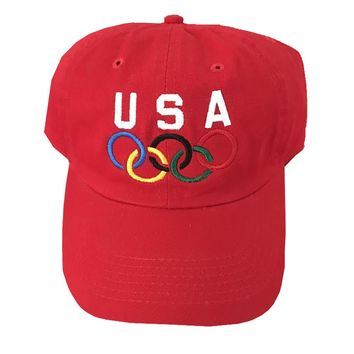 """Vintage USA Olympic Dad Hat """"Red"""""""