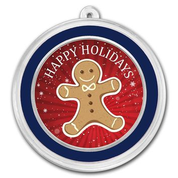 1 oz Silver Round - Happy Holidays (Gingerbread Man)