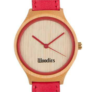 Red Bamboo Wood Watch