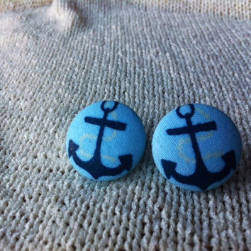 Baby Blue Anchor Fabric Button Earrings, Covered Button Earrings, Nautical Jewelry, Sailor Costume, Cosplay Jewelry