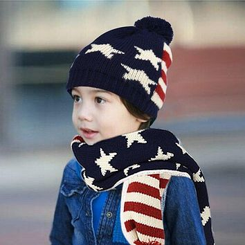 kids children Knitted Hat Scarf And Gloves 3 pcs winter set USA American flage design style