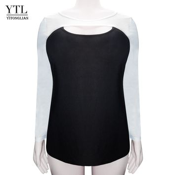 YTL Women's Sexy Plus Size Tops Off White Black Patchwork Cotton T Shirt Women O Neck Hollow Out Long Sleeve T-shirt Tunic H100
