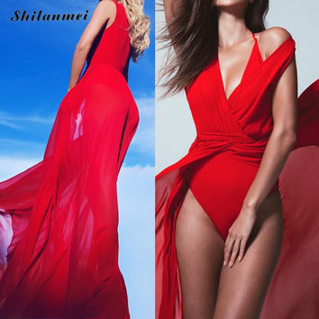 red Beach Dress Trendy floor-length tunics for beach cover ups robe de plage sheer cover up dress pareo praia beach dress