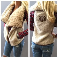 Monogram Faux Fur Vest – I Love Jewelry