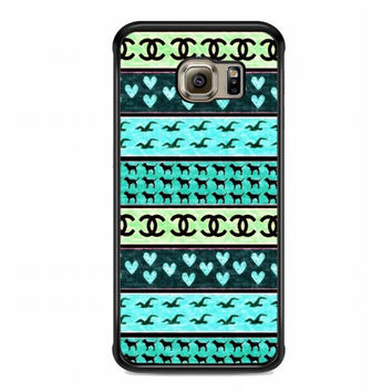 red hollister seagulls chanel sign hearts stripes For samsung galaxy s6 edge case
