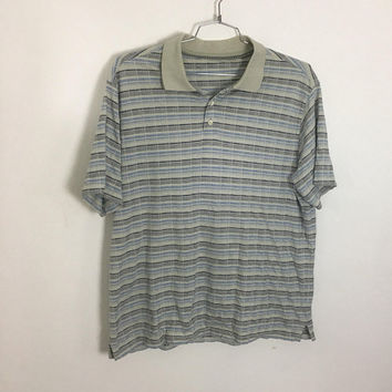 Thing Worn 80s Stripe Polo Style Collared shirt light blue pastel mens womens unisex extra large short sleeve top shirt golf sports tennis