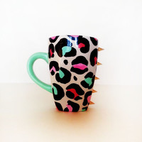 Meow – Coffee mug – tiffany blue handle – colorful leopard featuring gold spikes