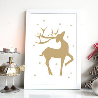 Christmas Printable | Reindeer Print | Christmas Poster | Instant Download | Gold Reindeer | Winter Decor | 8x10, A4 | Wall Art